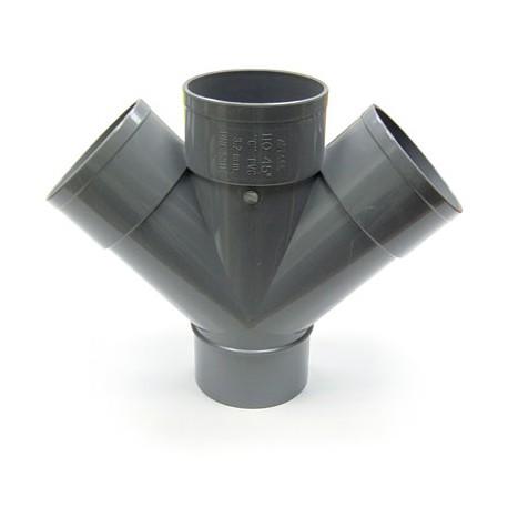 INJERTO DOBLE PLANO A 45º PVC DESAGÜE